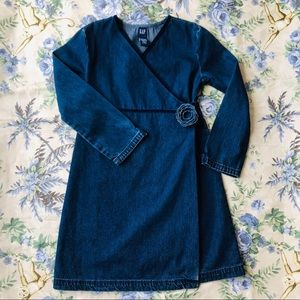 Gap Long Sleeved Dark Wash Denim Dress SizeS (5-6)